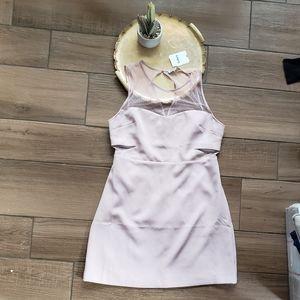 Express Light Pink Mesh Mini Dress High Neck 12